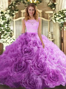 Pretty Lilac Zipper Scoop Lace Quince Ball Gowns Fabric With Rolling Flowers Sleeveless