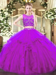 Suitable Sleeveless Floor Length Beading and Ruffles Zipper 15 Quinceanera Dress with Purple