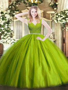Fancy Floor Length Olive Green Quinceanera Gowns Tulle Sleeveless Beading