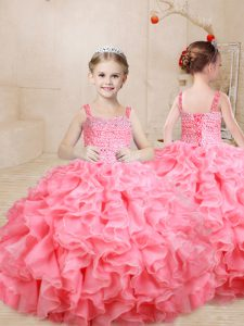 Floor Length Watermelon Red Little Girl Pageant Dress Straps Sleeveless Lace Up
