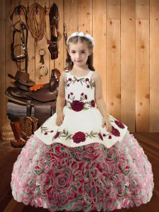 Multi-color Straps Neckline Embroidery and Ruffles Custom Made Pageant Dress Sleeveless Lace Up
