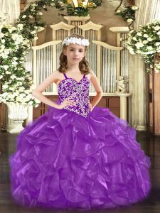 Amazing Floor Length Purple Little Girls Pageant Dress Straps Sleeveless Lace Up