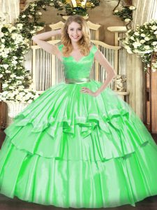 Enchanting Tulle Sleeveless Floor Length 15th Birthday Dress and Beading and Ruffled Layers
