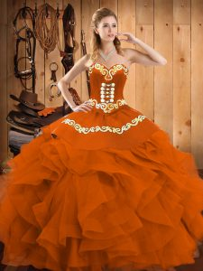 Rust Red Ball Gowns Satin and Organza Sweetheart Sleeveless Embroidery and Ruffles Floor Length Lace Up Sweet 16 Quinceanera Dress