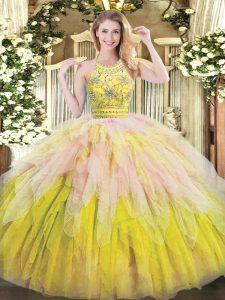 Halter Top Sleeveless Zipper Quinceanera Gown Multi-color Tulle
