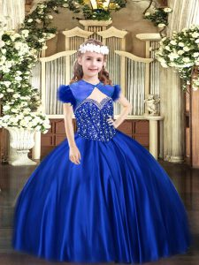 Royal Blue Lace Up Child Pageant Dress Beading Sleeveless Floor Length