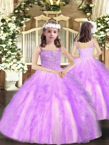 High End Lilac Ball Gowns Organza Straps Sleeveless Beading and Ruffles Floor Length Lace Up Evening Gowns