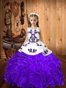 High Class Eggplant Purple Organza Lace Up Straps Sleeveless Floor Length Little Girl Pageant Dress Embroidery and Ruffles