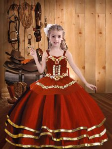 New Style Rust Red Ball Gowns Straps Sleeveless Organza Floor Length Lace Up Embroidery and Ruffles Pageant Dress Wholesale