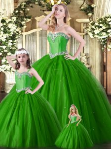 Lovely Green Ball Gown Prom Dress Military Ball and Sweet 16 and Quinceanera with Beading Sweetheart Sleeveless Lace Up