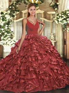 Latest Backless 15 Quinceanera Dress Rust Red for Military Ball and Sweet 16 and Quinceanera with Ruffles Sweep Train