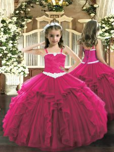 Hot Pink Pageant Dress Womens Party and Quinceanera with Appliques and Ruffles Straps Sleeveless Lace Up