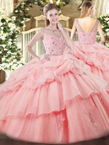 Sleeveless Tulle Floor Length Zipper Quinceanera Gowns in Baby Pink with Beading and Ruffles and Pick Ups