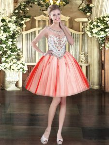 Mini Length Coral Red Prom Party Dress Tulle Sleeveless Beading and Appliques