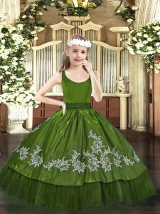 New Arrival Taffeta Sleeveless Floor Length Girls Pageant Dresses and Beading and Appliques