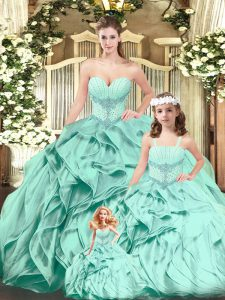 Aqua Blue Sweetheart Neckline Beading and Ruffles Quinceanera Gown Sleeveless Lace Up