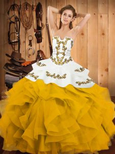 Romantic Sleeveless Lace Up Floor Length Embroidery and Ruffles Quinceanera Dress