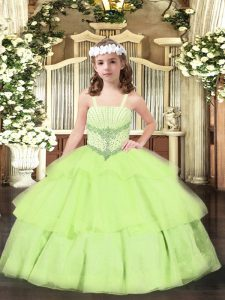 Wonderful Yellow Green Ball Gowns Beading and Ruffled Layers Pageant Gowns Lace Up Organza Sleeveless Floor Length