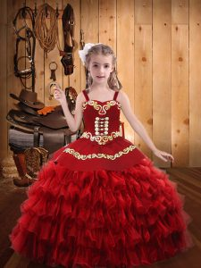 Red Straps Neckline Embroidery and Ruffled Layers Pageant Gowns For Girls Sleeveless Lace Up