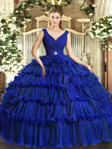 V-neck Sleeveless Organza Quinceanera Dresses Beading and Ruffled Layers Backless