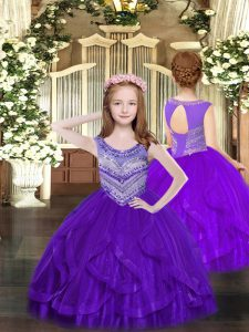 Wonderful Tulle Sleeveless Floor Length Pageant Dress for Girls and Beading and Ruffles
