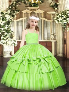 Organza Straps Sleeveless Zipper Beading and Lace Little Girl Pageant Gowns in