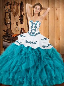 Sexy Strapless Sleeveless Satin and Organza Quinceanera Dress Embroidery and Ruffles Lace Up