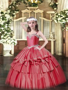 Organza and Taffeta Straps Sleeveless Lace Up Beading and Ruffled Layers Little Girls Pageant Dress Wholesale in Coral Red