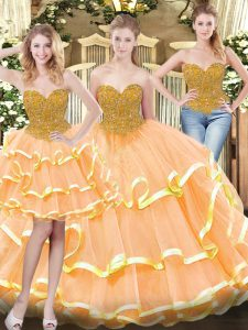 Tulle Sleeveless Floor Length Sweet 16 Dresses and Beading and Ruffled Layers