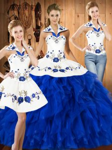 Blue And White Three Pieces Satin and Organza Halter Top Sleeveless Embroidery and Ruffles Floor Length Lace Up Quinceanera Dresses
