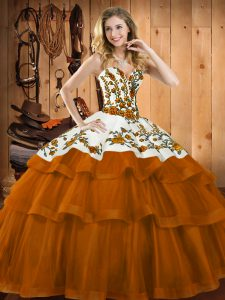 Rust Red Sweetheart Lace Up Embroidery Sweet 16 Quinceanera Dress Sweep Train Sleeveless