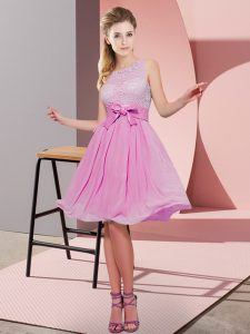 Affordable Rose Pink Scoop Side Zipper Lace and Bowknot Quinceanera Court of Honor Dress Sleeveless