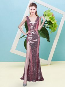Flirting Coral Red Mermaid V-neck Sleeveless Sequined Floor Length Zipper Sequins Prom Party Dress