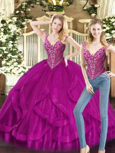 Lovely Organza Sleeveless Floor Length 15 Quinceanera Dress and Beading and Ruffles