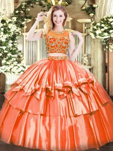 Floor Length Two Pieces Sleeveless Orange Red Party Dresses Zipper