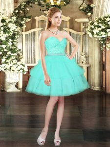 Aqua Blue Ball Gowns Sweetheart Sleeveless Tulle Mini Length Lace Up Beading and Lace and Ruffled Layers Homecoming Dress