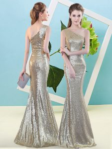 Sexy One Shoulder Sleeveless Sequined Prom Gown Sequins Zipper