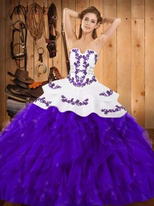 New Style White And Purple Ball Gowns Satin and Organza Strapless Sleeveless Embroidery and Ruffles Floor Length Lace Up Quinceanera Dress