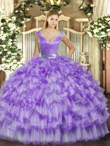 Shining Lavender Organza Zipper V-neck Sleeveless Floor Length Sweet 16 Dress Ruffled Layers