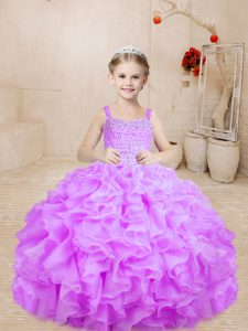 Trendy Lilac Sleeveless Beading Floor Length Little Girls Pageant Gowns