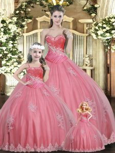 Chic Sweetheart Sleeveless Tulle Quince Ball Gowns Beading Lace Up