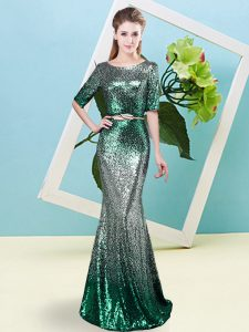 Most Popular Multi-color Prom Gown Prom and Party with Sequins and Belt Scoop Half Sleeves Zipper