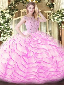 Bateau Sleeveless Tulle Ball Gown Prom Dress Beading and Ruffled Layers Sweep Train Zipper
