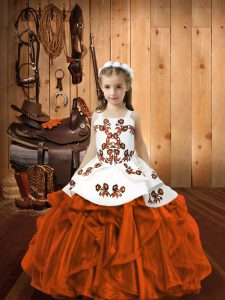 Straps Sleeveless Winning Pageant Gowns Floor Length Embroidery Rust Red Organza