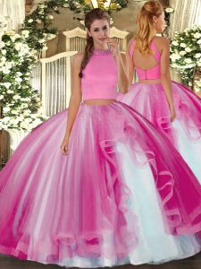 Hot Pink Tulle Backless Vestidos de Quinceanera Sleeveless Floor Length Beading and Ruffles