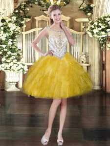 Stylish Gold Sleeveless Tulle Zipper Prom Dresses for Prom and Party