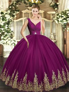 Stylish Fuchsia Tulle Backless Vestidos de Quinceanera Sleeveless Floor Length Beading and Appliques and Ruching