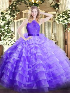 Lavender Zipper 15th Birthday Dress Ruffled Layers Sleeveless Floor Length