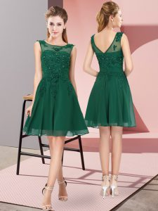 Dark Green Scoop Zipper Appliques Court Dresses for Sweet 16 Sleeveless