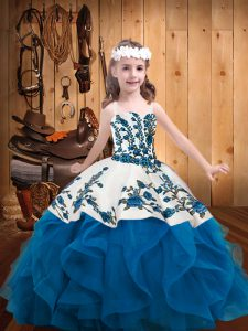 Admirable Sleeveless Lace Up Floor Length Embroidery and Ruffles Little Girl Pageant Dress